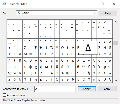 how to put delta symbol in word