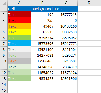 Check cell color in VBA