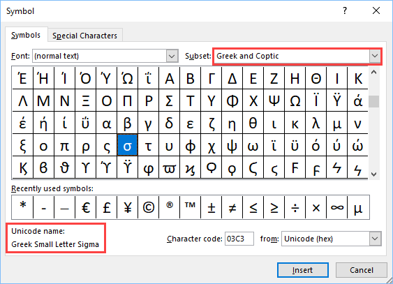 how to make lower case sigma on mac