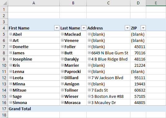 Remove (blank) in Pivot Table
