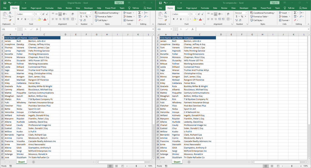 Compare Excel files for differences